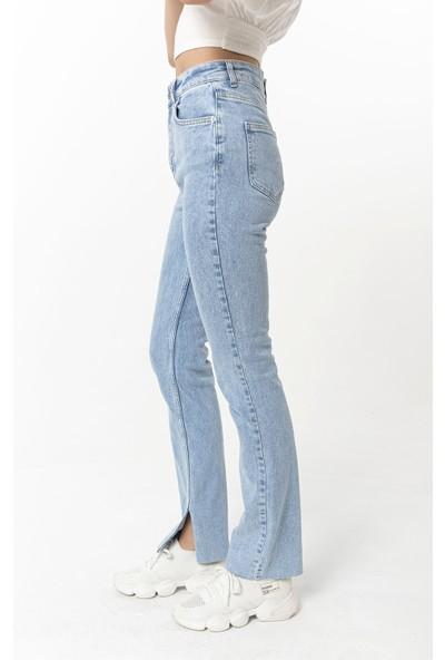 Coral Yanı Yırtmaçlı Likralı Kot Pantolon Mavi