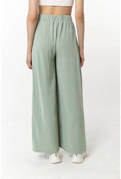 Coral Beli Lastikli Pantolon Mint Yeşili