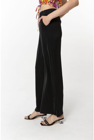 Coral Beli Lastikli Pantolon Siyah