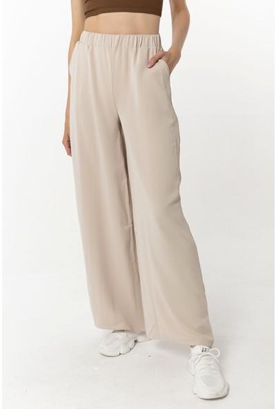 Coral Beli Lastikli Pantolon Taş
