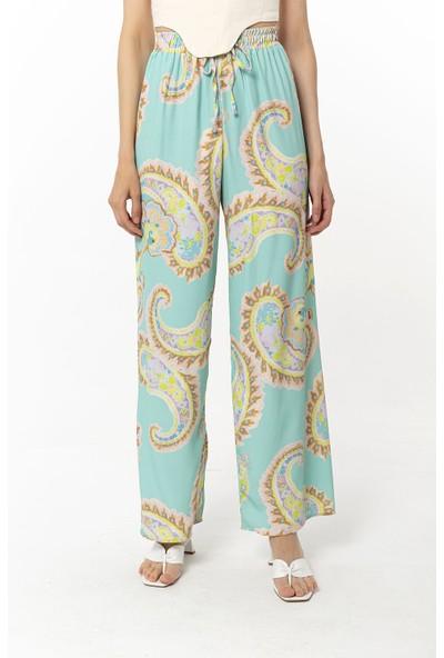 Coral Desenli Pantolon Yeşil