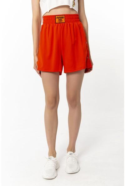 Coral Çıtçıt Detaylı Şort Orange