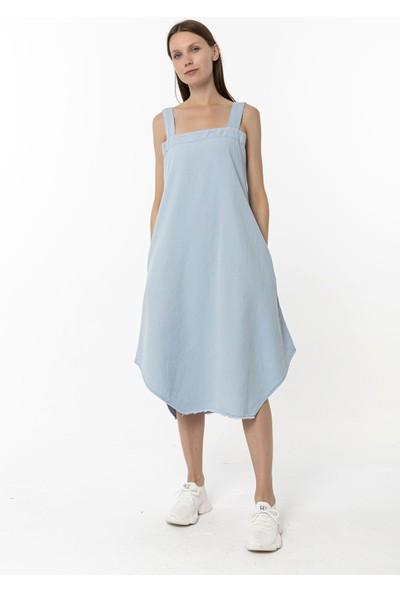 Coral Uzun Pamuklu Elbise Açık Mavi