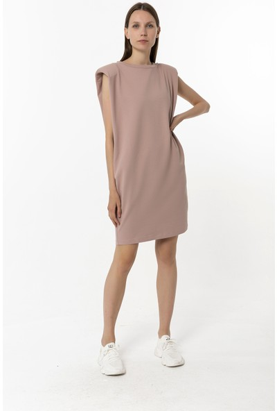 Coral Vatkalı Kolsuz Elbise Fındık