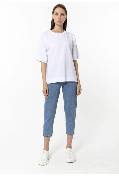 Coral Geniş Beden T-Shirt Beyaz