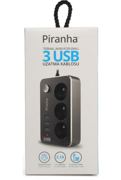 Piranha Akım Korumalı Priz 3 Port 2,1 A USB Şarj Yuvası