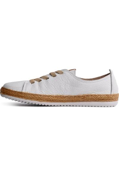 Free Foot 110-1 Beyaz Hakiki Deri Kadın Günlük Ayakkabı