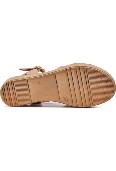 Park Fancy 702 Pudra Kadın Dolgu Topuk Sandalet