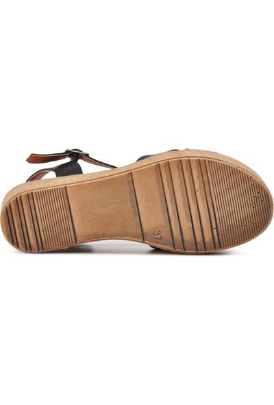 Park Fancy 702 Siyah Kadın Dolgu Topuk Sandalet