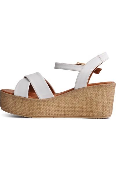 Park Fancy 702 Beyaz Kadın Dolgu Topuk Sandalet