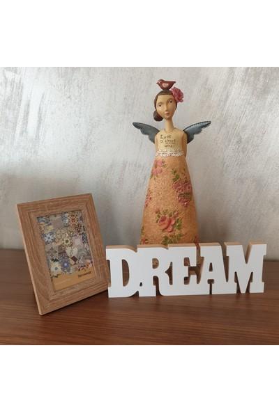 Wuw Dream Rüya Yazılı Beyaz Dekoratif Baskılı Ahşap Obje