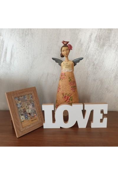 Wuw Love Aşk Yaşa Yazılı Beyaz Dekoratif Baskılı Ahşap Obje