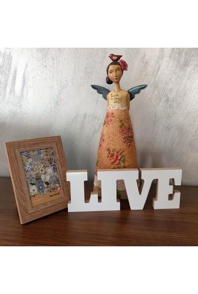 Wuw Live Yaşa Yazılı Beyaz Dekoratif Baskılı Ahşap Obje