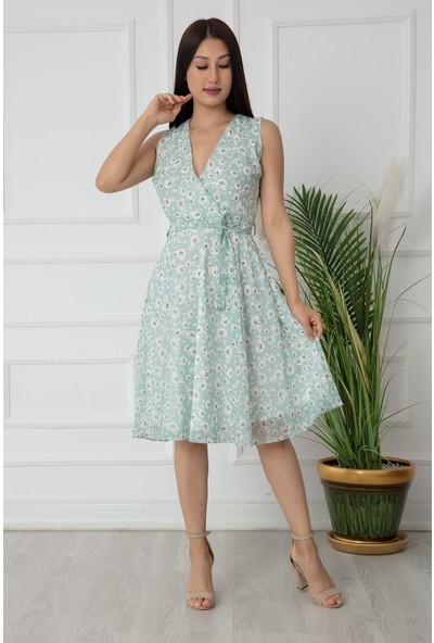Kalopya Bayan Çiçekli Kruvaze Yaka Şifon Elbise 3079