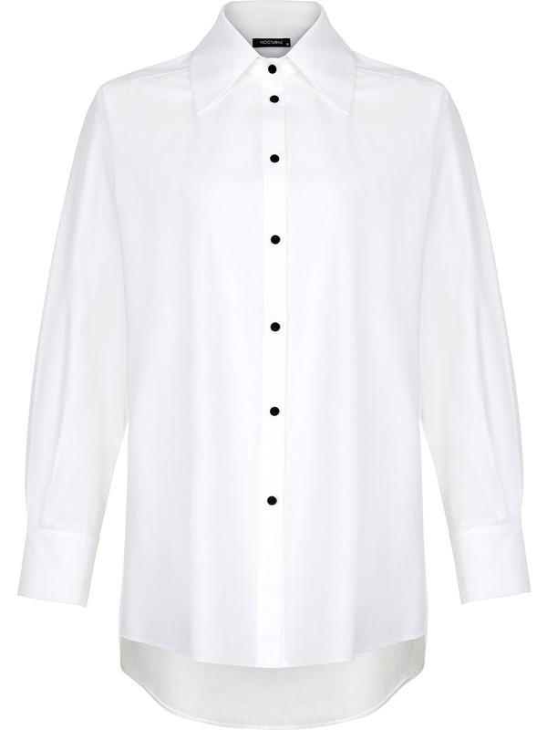Nocturne Sırt Baskılı Oversize Gömlek