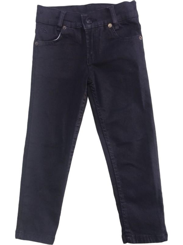 Kız ve Erkek Çocuk Siyah Streç Beli Ayarlanabilen Lastikli Kot Pantolon Çkp-98