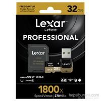 Lexar 32Gb Microsdhc 1800X Uhs-Iı 270Mb/Sn.Usb 3.0Reader & Sdhc Adapter (C10) U3 Hafıza Kartı