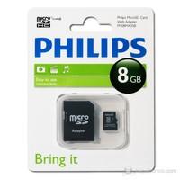 Philips 8GB Class 4 Micro SDHC Hafıza Kartı + Adaptör FM08MA35P