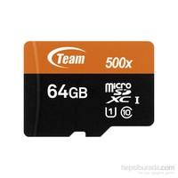 Team 64GB MicroSDXC UHS-I Class 10 80MB/Sn Hafıza Kartı+SD Adaptör (TMMSD64GUHS)