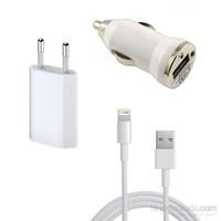 Case 4U iPad Mini/iPod Ev ve Araç Şarjı + USB Data Şarj Kablosu Seti