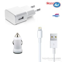 Case 4U iPad Air/iPad Air2/iPod Lightning Ev ve Araç Şarjı + USB Data Şarj Kablosu Seti