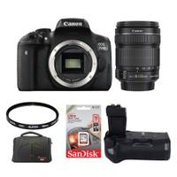 Canon Eos 750D + 18-135 Lens + Battery Grip + Hafıza Kartı + Çanta + Uv Filtre