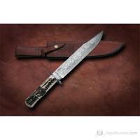 Bora M 614 Damascus Çelik Boynuz Saplı Bıçak