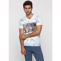 Adze Turkuaz Erkek V Yaka T-Shirt