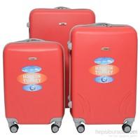 TUTQN Kırılmaz Plastik Bavul 3'Lü Valiz Set %100 PP Kırmızı