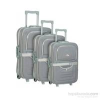 Hçs 3'Lü Valiz Seti Su Geçirmez Bavul Seti Gri