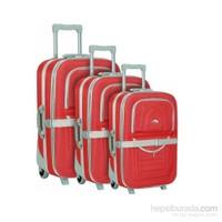 Hçs 3'Lü Valiz Seti Su Geçirmez Bavul Seti Kırmızı
