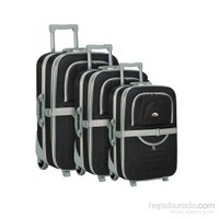 Hçs 3'Lü Valiz Seti Su Geçirmez Bavul Seti Siyah