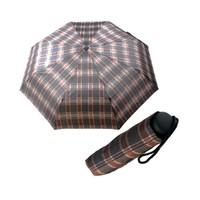 Zeus & Co. Kahverengi Ekose Manuel Rüzgara Dayanıklı Şemsiye