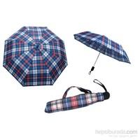 Zeus & Co. Mavi Beyaz Ekose Otomatik Rüzgara Dayanıklı Şemsiye