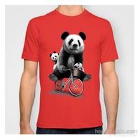 101Dzyn Panda Ailesi Erkek Tişört Kırmızı