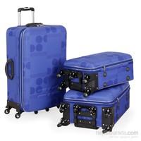 Malp 6 Teker Kabartma Üçlü Valiz Seti - Mavi
