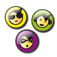 Nikidom Roller 3 Pins Emoticons Cool Rozet