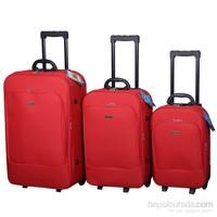 Anka Tek Cepli Valiz Seti Kırmızı