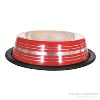 Lion Çelik Mama Kabı(Skid Bowl Stripped 16Oz 470Ml )Kırmızı