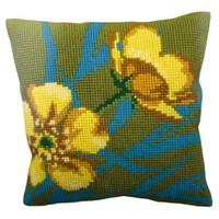 Collection D'art 40X40 Cm Sarı Çiçek Desenli Goblen Yastık Kiti