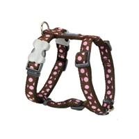Reddingo Kahverengin Üzeri Pembe Benekli Köpek Göğüs Tasması 15 Mm