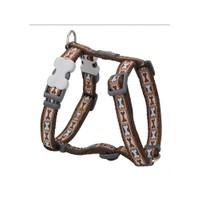 Reddingo Bone Yard Desenli Kahverengi Köpek Göğüs Tasması 12 Mm