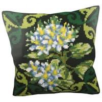 Collection D'art 40X40 Cm Yeşil Ledum Çiçeği Desenli Goblen Yastık Kiti