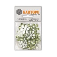 Kartopu Yeşil Çiçek Süslü Taş - Et5