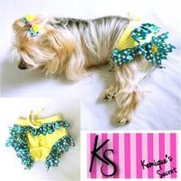 Kemique Köpek İç Çamaşırı - Sarı Fırfır - Regl Külot