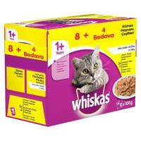 Whiskas Pouch Multipack Güveç Çeşitleri Yaş kedi Maması 8 AL 4 Bedava 12 X 100 Gr