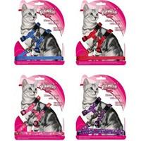 Pawise Kediler İçin Desenli Göğüs Tasması Mor-Pembe P28002up