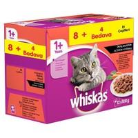 Whiskas Pouch Multipack Etli Çeşitleri Yaş kedi Maması 8 Al 4 Bedava gk