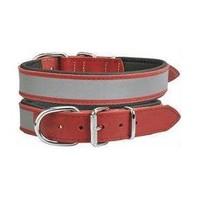 Doggie Comfort Reflektifli Deri Boyun Tasması 35 Cm * 1,5 Cm Kırmızı