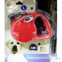 Freego Kırmızı Otomatik Tasma L 5M/41Kg